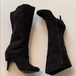 Fergalicious By Fergie Wide Calf Black Suede Boots